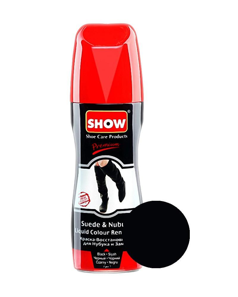 Czarny, płynny renowator koloru do zamszu nubuku, Show, 75 ml