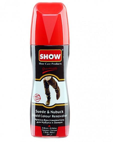 Brązowy, płynny renowator koloru do zamszu nubuku, Show, 75 ml