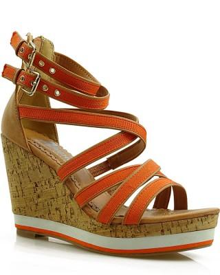 Pomarańczowe sandały damskie na koturnie 6043-003