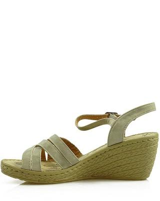 Beżowe sandały damskie na niskiej koturnie