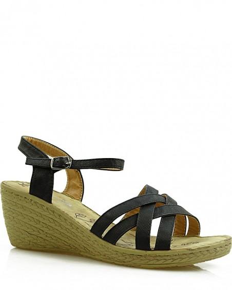 Czarne sandały damskie na koturnie