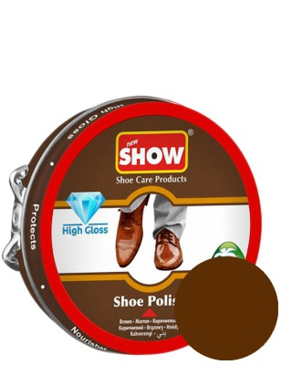 Brązowa, klasyczna pasta do butów w metalowym pudełku, Show