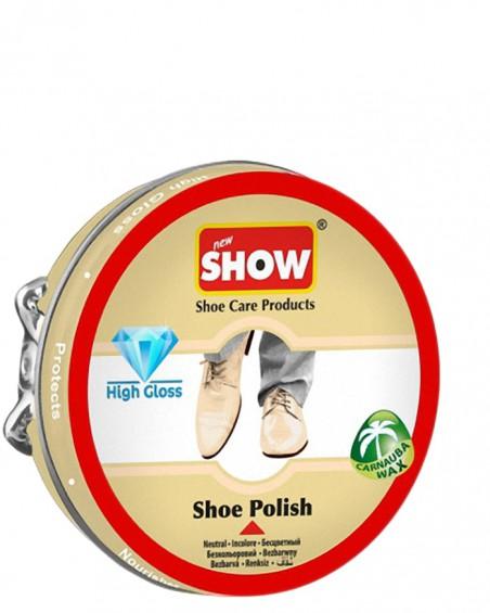 Bezbarwna, klasyczna pasta do butów w metalowym pudełku, Show
