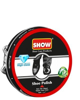 Czarna, klasyczna pasta do butów w metalowym pudełku, Show