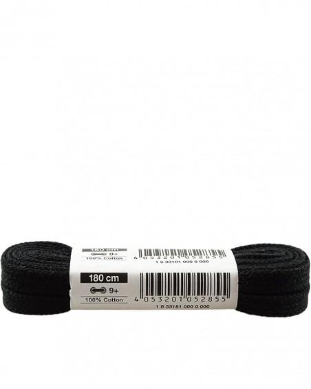 Czarne, płaskie, bawełniane sznurówki do butów, 180 cm
