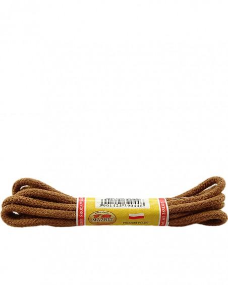 Jasnobrązowe, okrągłe grube, sznurówki do butów, 150 cm