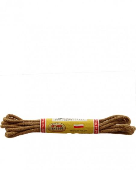 Jasnobrązowe, okrągłe cienkie, sznurówki do butów, 60 cm, Mazbit