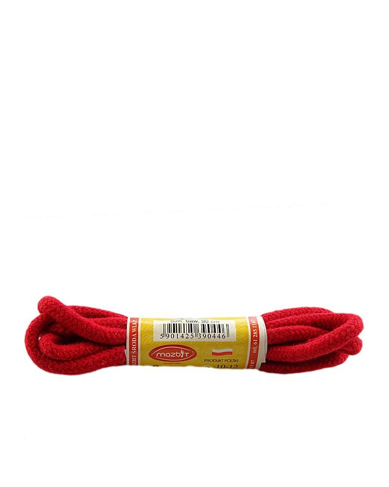 Czerwone, okrągłe grube, sznurówki do butów, 120 cm, Mazbit