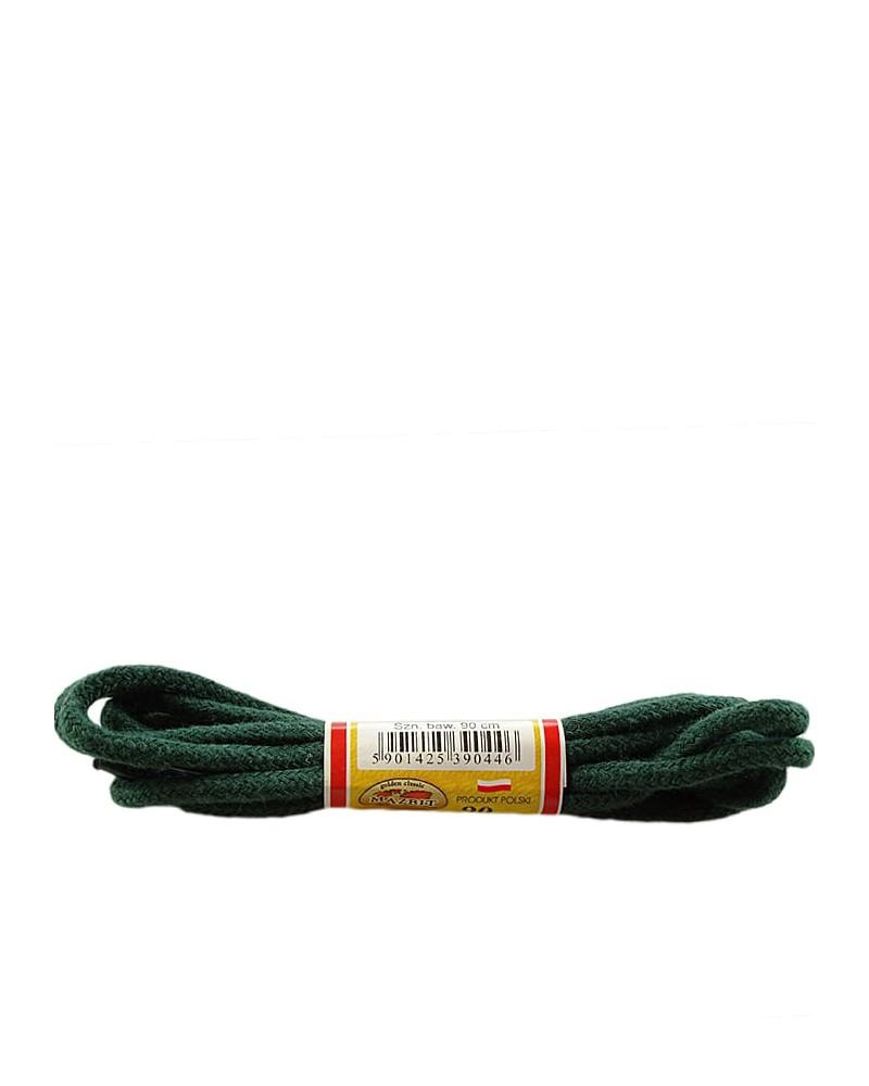 Ciemnozielone, okrągłe grube, sznurówki do butów, 90 cm, Mazbit