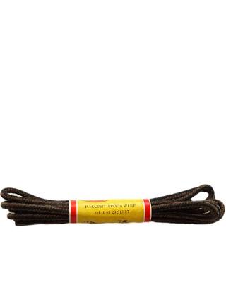 Czarno-brązowe, paski, sznurówki okrągłe cienkie, 60 cm, Mazbit