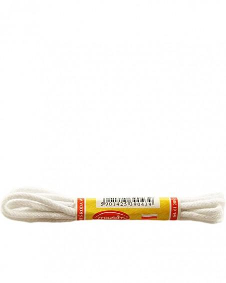 Białe, okrągłe cienkie, sznurówki do butów, 90 cm, Mazbit