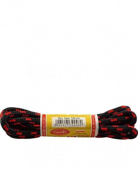 Czarno-czerwone, trekkingowe sznurówki do butów, 120 cm, Mazbit
