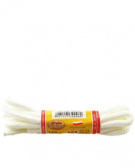 Białe, trekkingowe sznurówki do butów, 120 cm, Mazbit