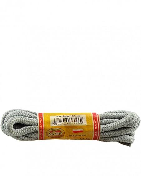 Szare, popielate, trekkingowe sznurówki do butów, 120 cm, Mazbit