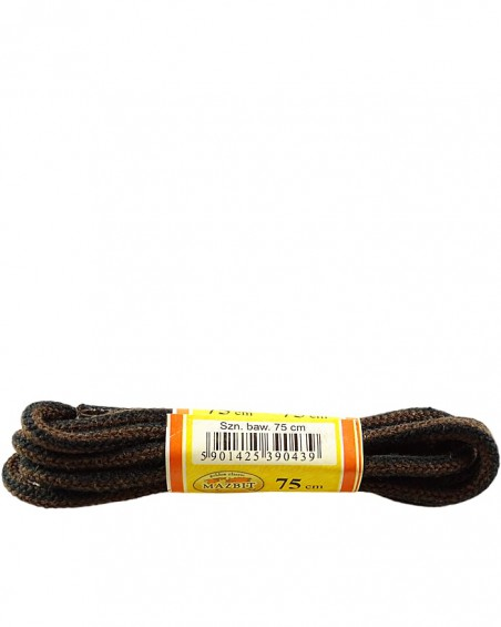 Czarno-brązowe, paski, okrągłe grube, sznurowadła, 75 cm, Mazbit