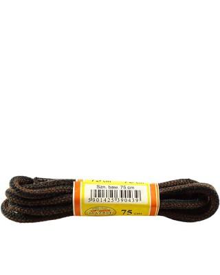 Czarno-brązowe, paski, okrągłe grube, sznurowadła, 150 cm, Mazbit