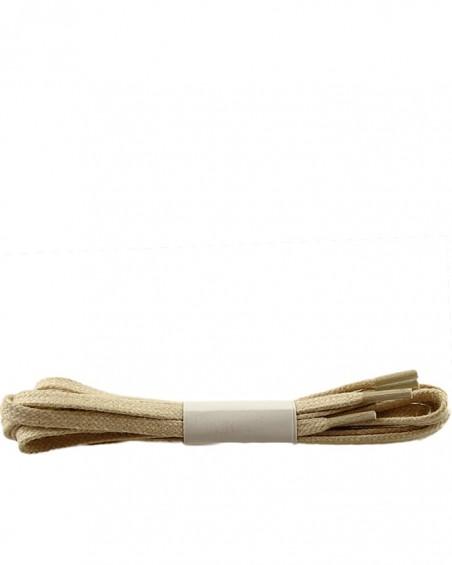Beżowe, płaskie, woskowane sznurówki do butów, 100 cm, Halan