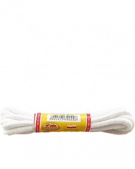 Białe, okrągłe grube, sznurówki do butów, 100 cm, Mazbit