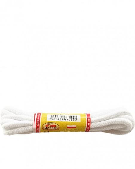 Białe, okrągłe grube, sznurówki do butów, 150 cm, Mazbit