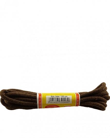 Brązowe, okrągłe grube, sznurówki do butów, 120 cm, Mazbit