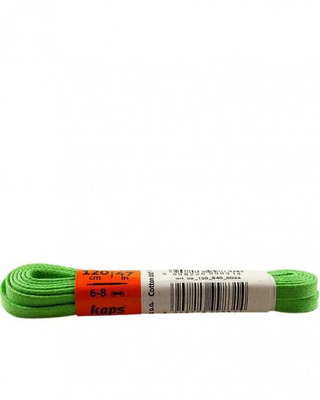 Zielone, płaskie, woskowane sznurówki do butów, 120 cm, Kaps
