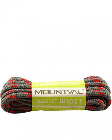 Szaro-czerwone, trekkingowe sznurówki do butów, 180 cm, Mountval