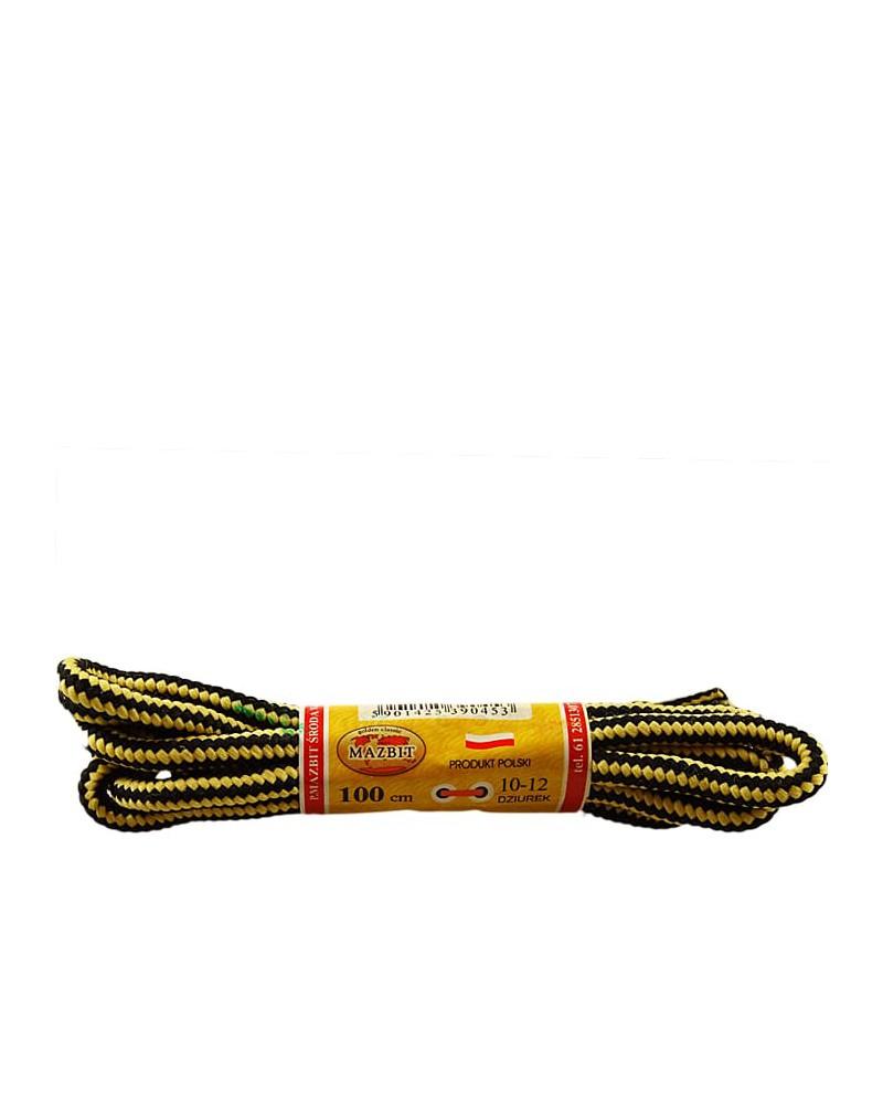 Miodowo-czarne, trekkingowe sznurówki do butów, 120 cm, Mazbit