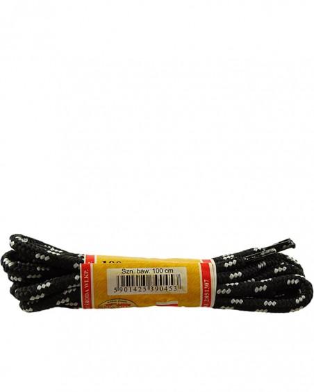 Czarno-szare, trekkingowe sznurówki do butów, 120 cm, Mazbit