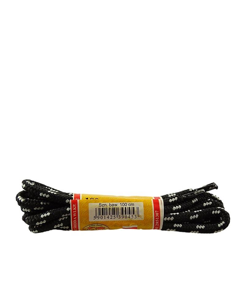 Czarno-szare, trekkingowe sznurówki do butów, 150 cm, Mazbit