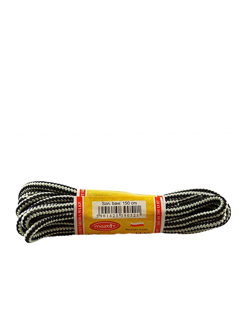 Szaro-czarne, trekkingowe sznurówki do butów, 120 cm, Mazbit