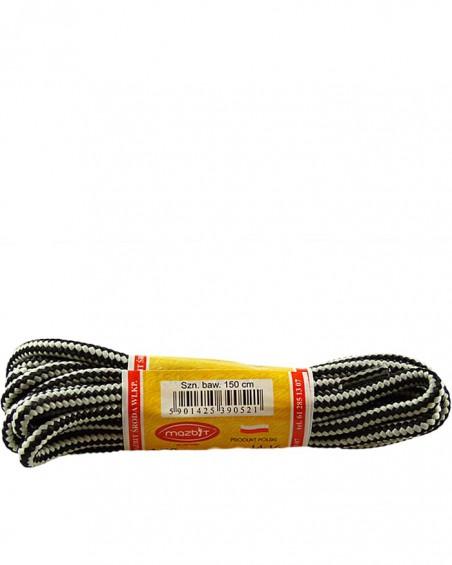 Szaro-czarne, trekkingowe sznurówki do butów, 150 cm, Mazbit