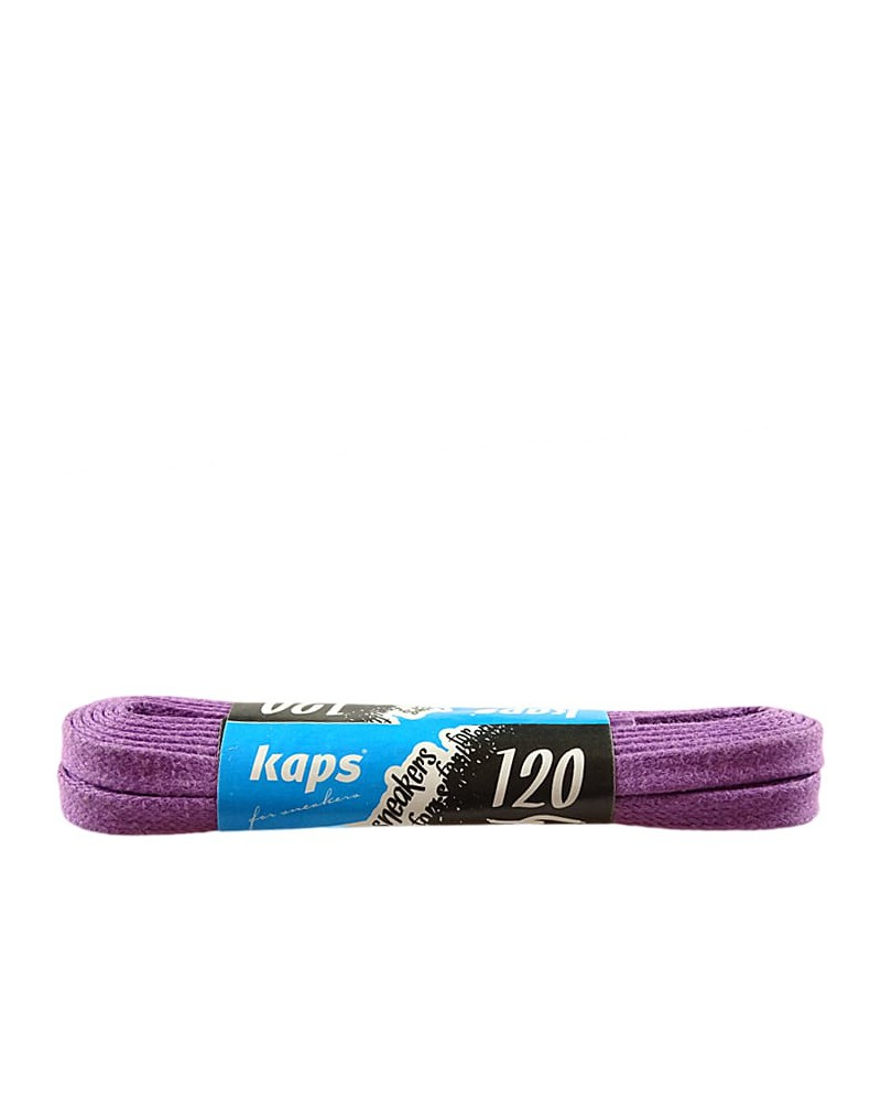 Fioletowe, płaskie, woskowane sznurówki do butów, 120 cm, Kaps
