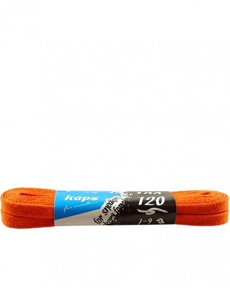 Pomarańczowe, płaskie, woskowane sznurówki do butów, 120 cm, Kaps