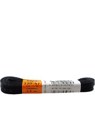 Czarne, płaskie, woskowane sznurówki do butów, 120 cm, Kaps