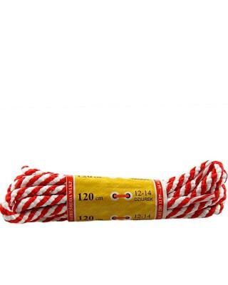 Biało-czerwone, okrągłe grube, sznurówki do butów, 180 cm