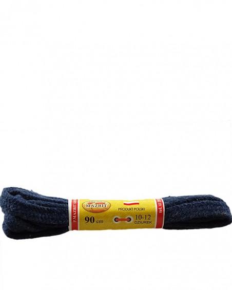 Granatowe, jeans, sznurówki do butów, płaskie, 100, Mazbit