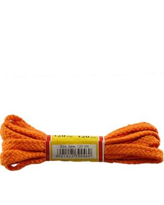 Pomarańczowe, płaskie sznurówki do butów, 120 cm, Mazbit