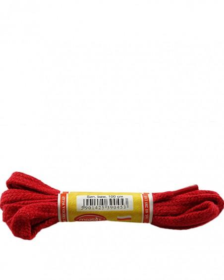 Czerwone, płaskie sznurówki do butów, 120 cm, Mazbit