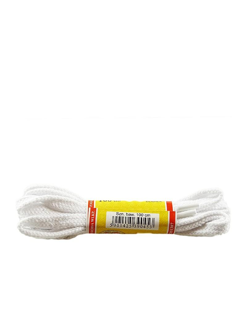 Białe, płaskie sznurówki do butów, 75 cm, Mazbit