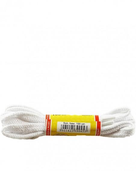 Białe, płaskie sznurówki do butów, 150 cm, Mazbit