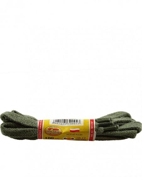 Oliwkowe, płaskie sznurówki do butów, 100 cm, Mazbit
