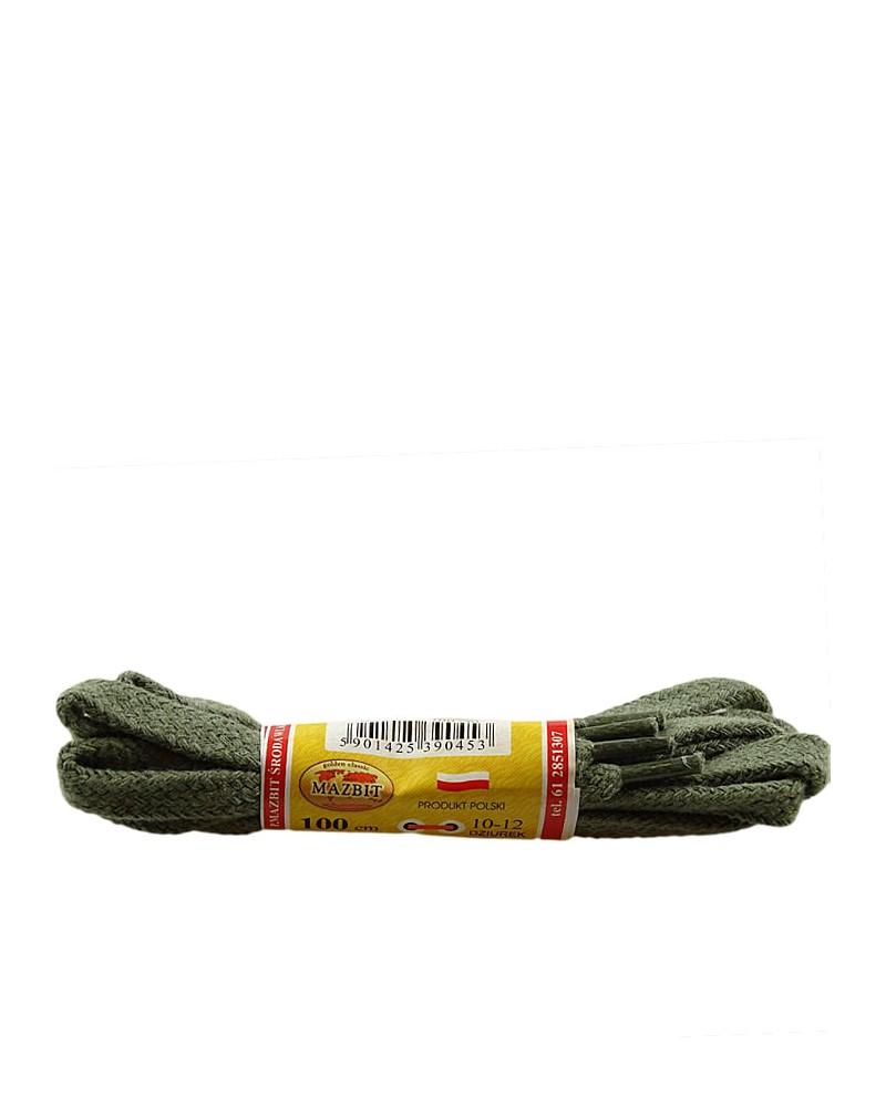 Oliwkowe, płaskie sznurówki do butów, 90 cm, Mazbit
