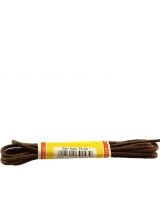 Brązowe, cienkie, woskowane sznurówki do butów, 120 cm, Mazbit