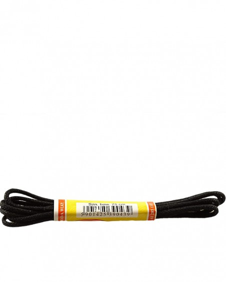 Czarne, cienkie, woskowane sznurówki do butów, 75 cm, Mazbit