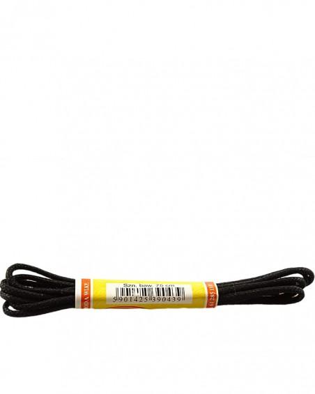 Czarne, cienkie, woskowane sznurówki do butów, 120 cm, Mazbit