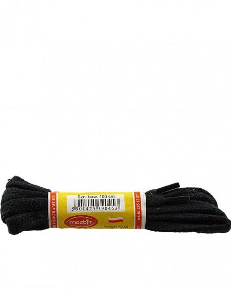 Czarne, płaskie sznurówki do butów, 120 cm, Mazbit