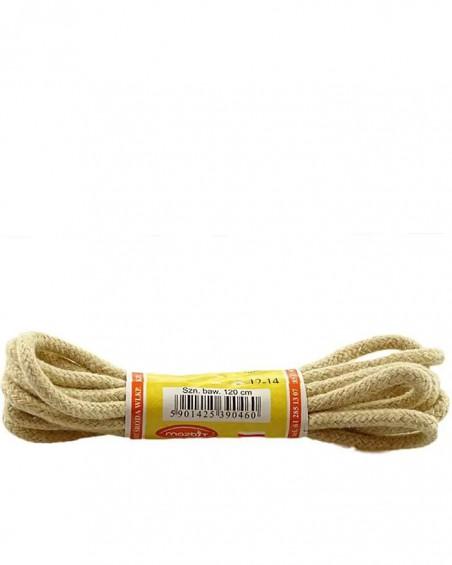 Jasnobeżowe, okrągłe grube, sznurówki do butów, 150 cm, Mazbit