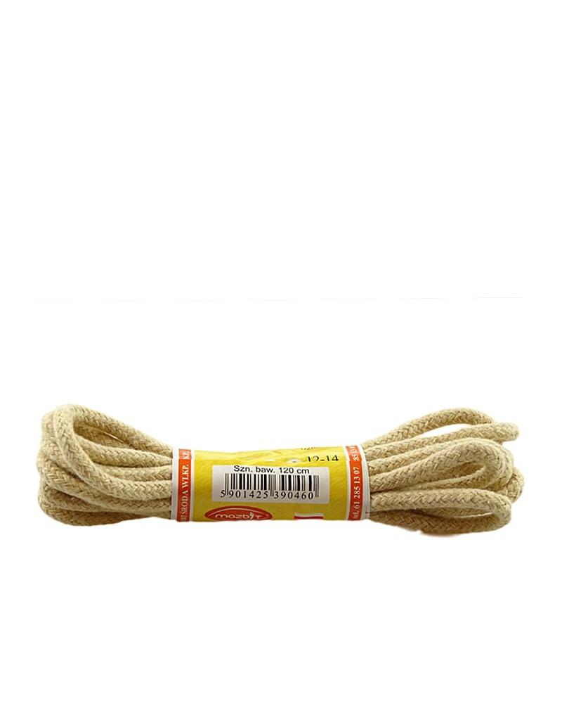 Jasnobeżowe, okrągłe grube, sznurówki do butów, 60 cm