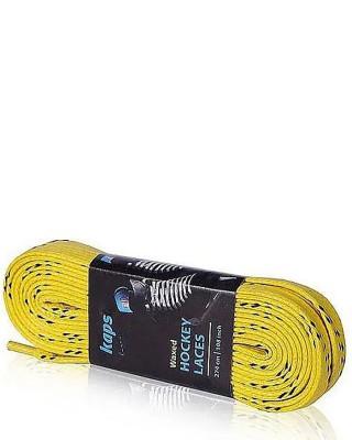 Żółto-czarne woskowane sznurówki do łyżew hokejowych 300 cm