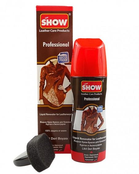 Brązowy, płynny środek do odnawiania odzieży skórzanej, Show